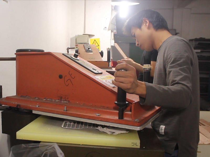 Materials Cutting logo pad cutting on a small cutting machine