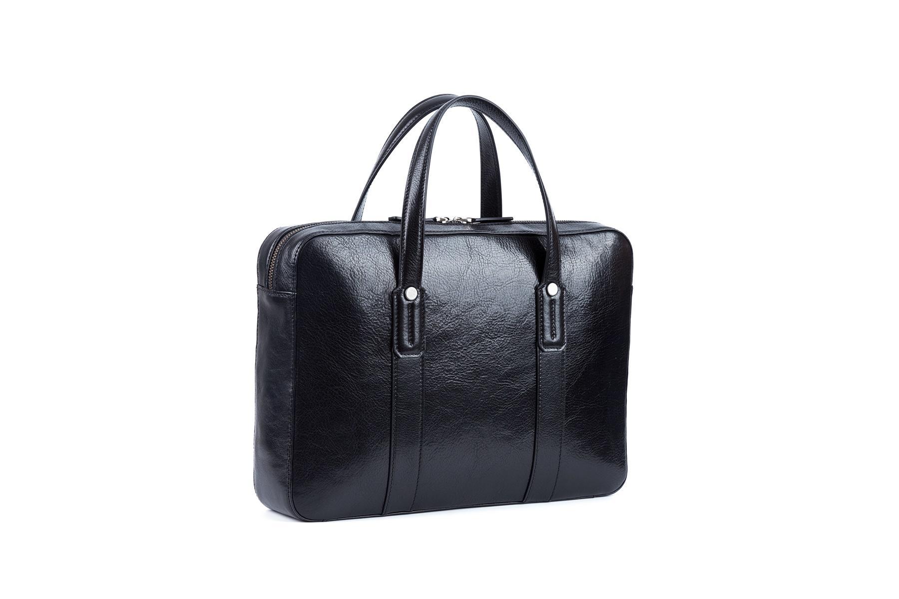 Briefcase genuine leather zipper closure simple handle
