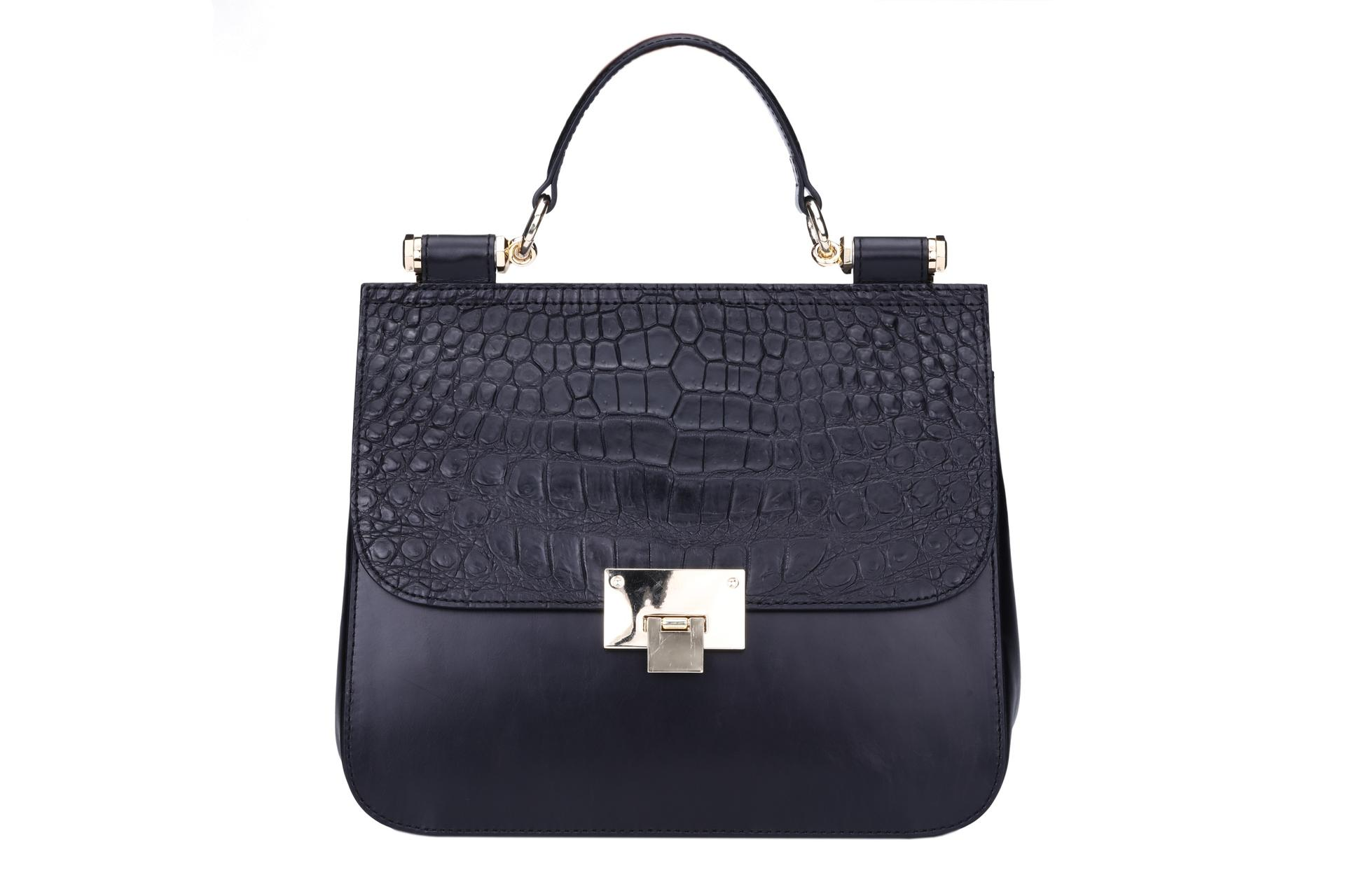 Handbag top handle crocodile leather pattern cover with metal lock