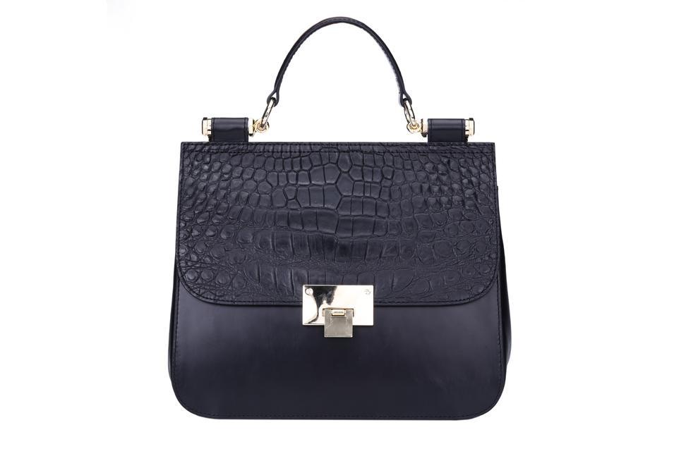 Handbag top handle crocodile leather pattern cover with metal lock