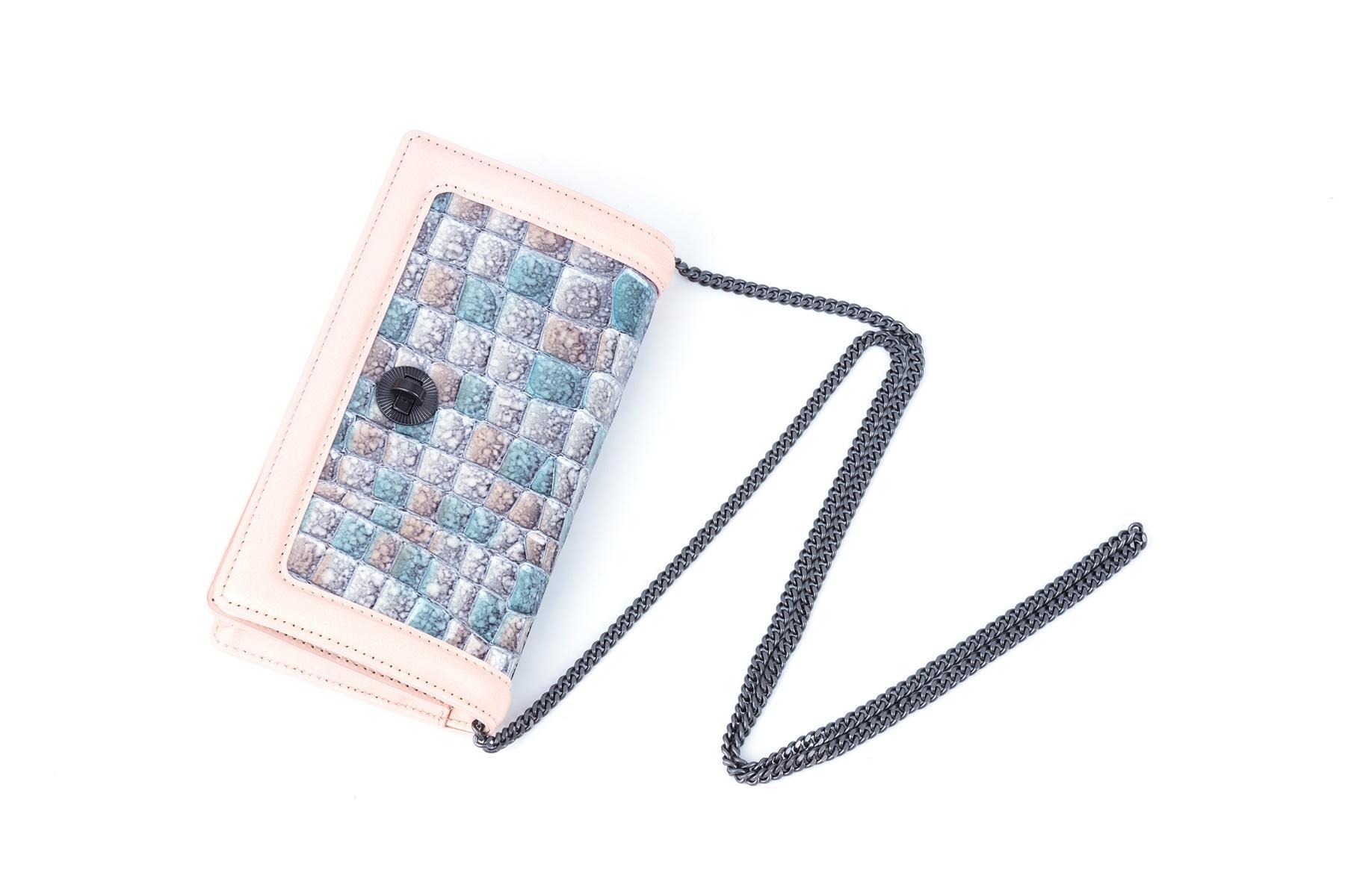 Mini bag genuine leather nylon lining cover with metal turn lock