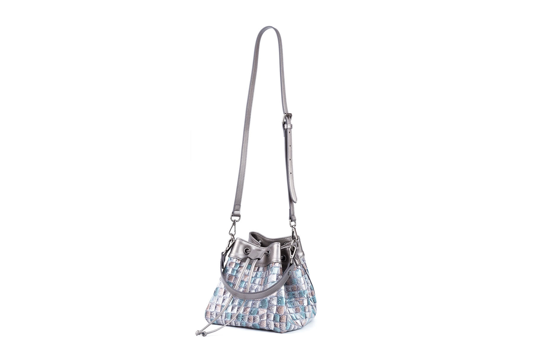 GF bags-Shoulder bag bucket shape drawstring strap handle-1