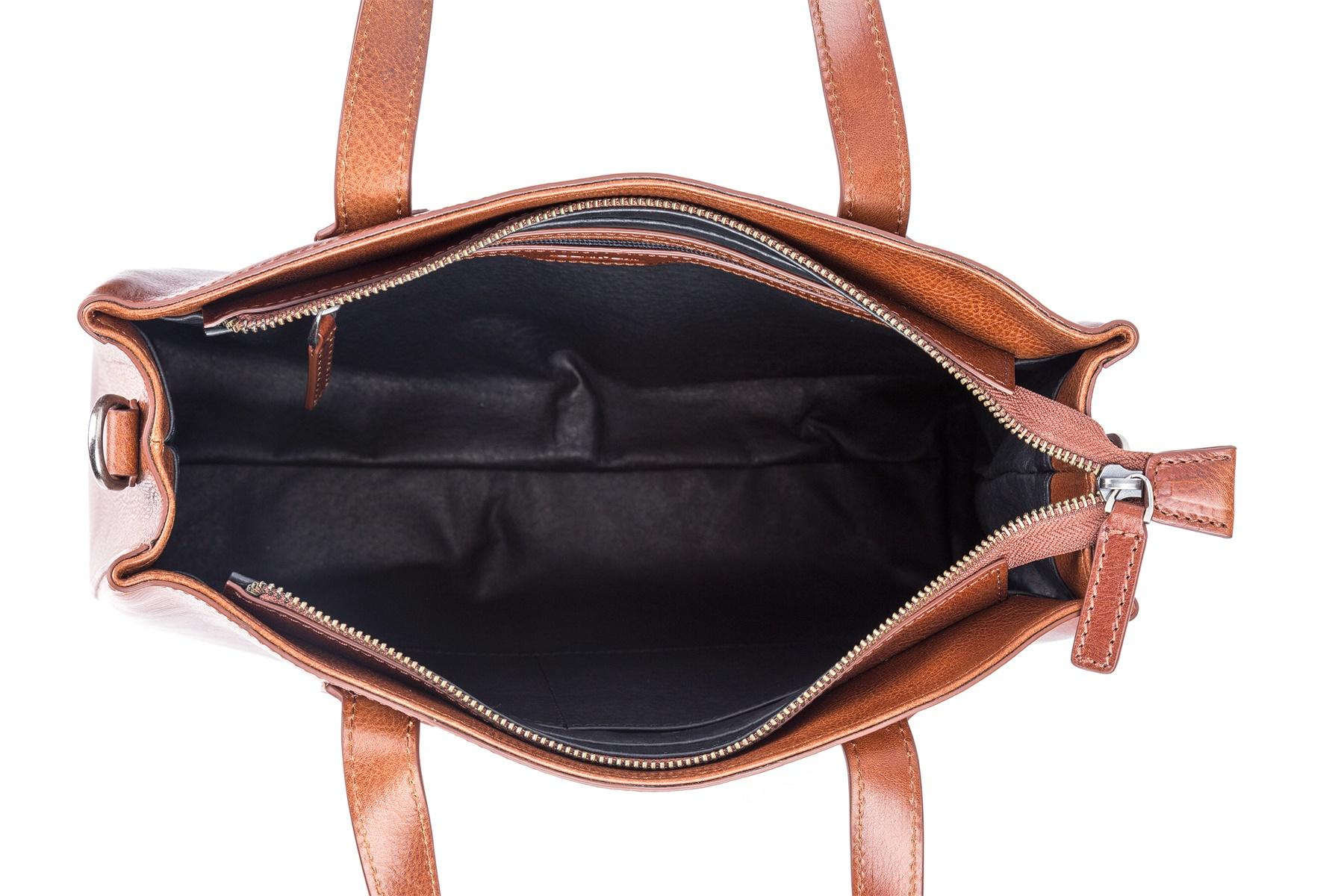 Handbag top handle waxed leather zipper close bag