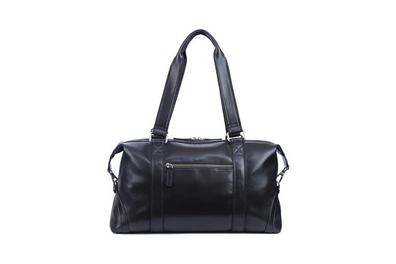 Duffle leather handle metal zipper closure