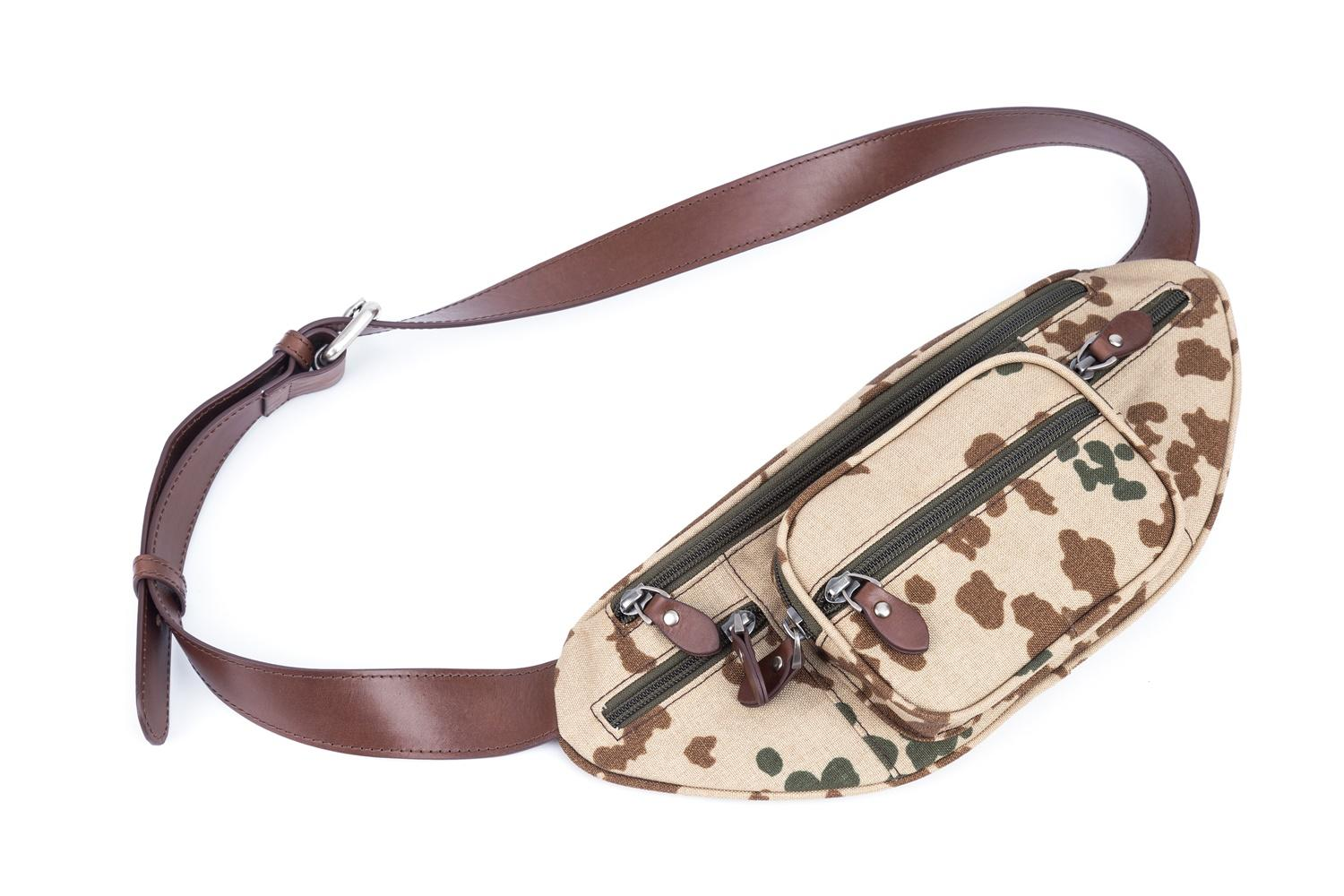 genuine leather wax leather strap camouflage nylon pocket