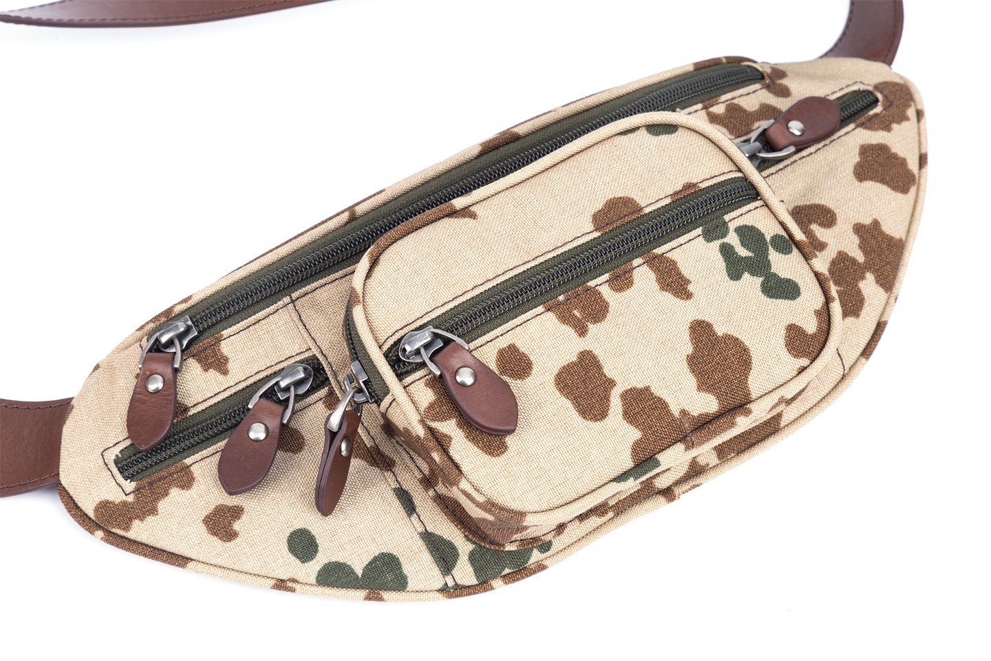 GF bags-Body Bag Genuine Leather Wax Leather Strap Camouflage Nylon Pocket-gaofeng Bags-3