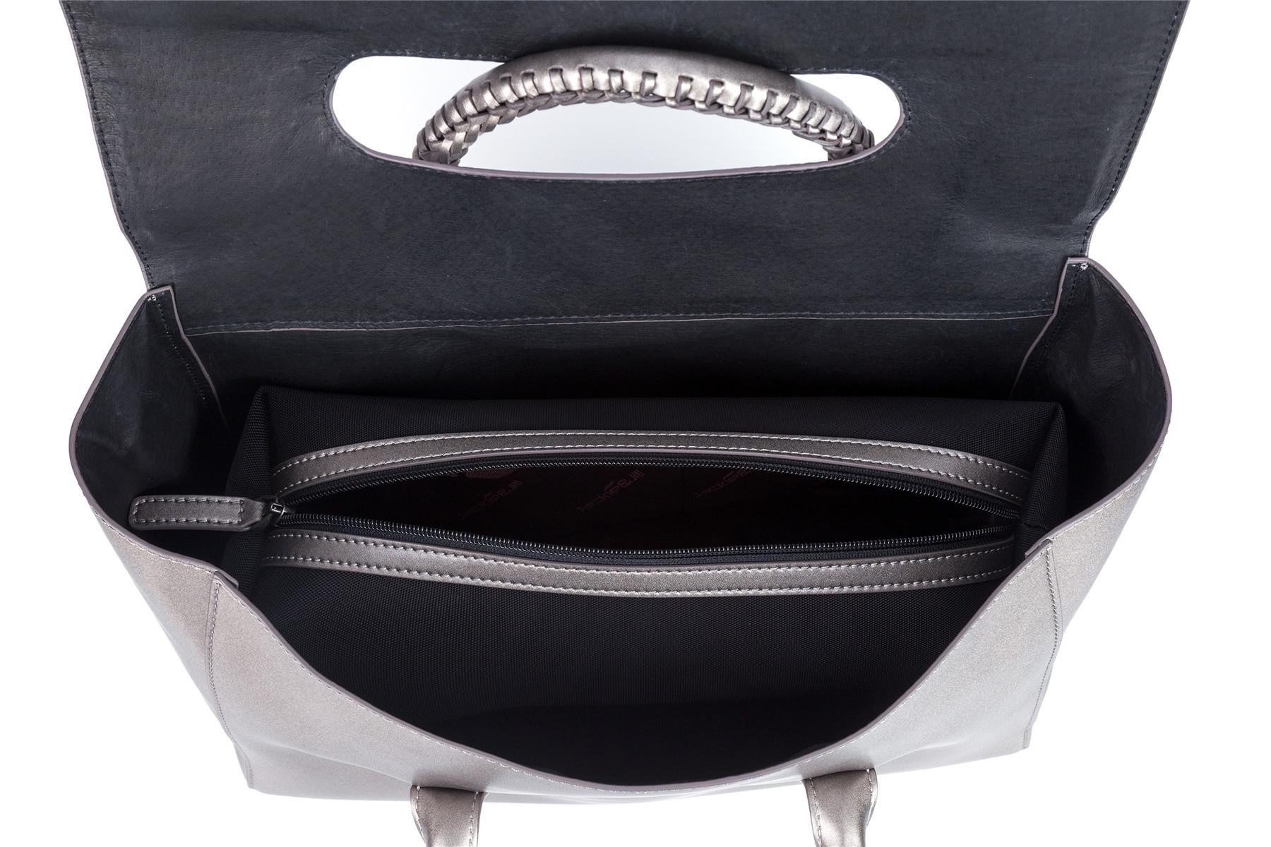 GF bags-Handbag Weaving handle microfiber leather cover closure-1