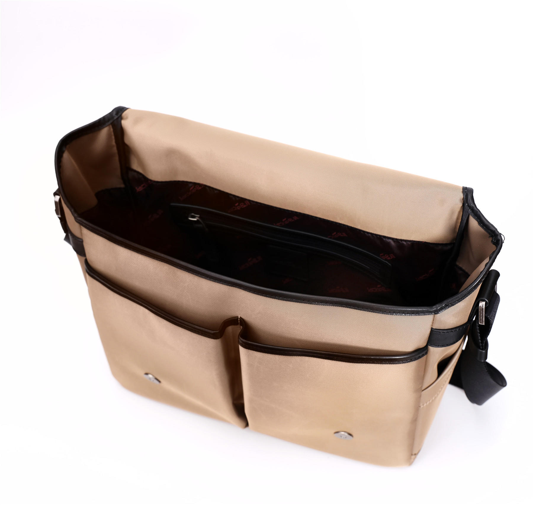 Messenger Bags nylon fabric decoration with leather