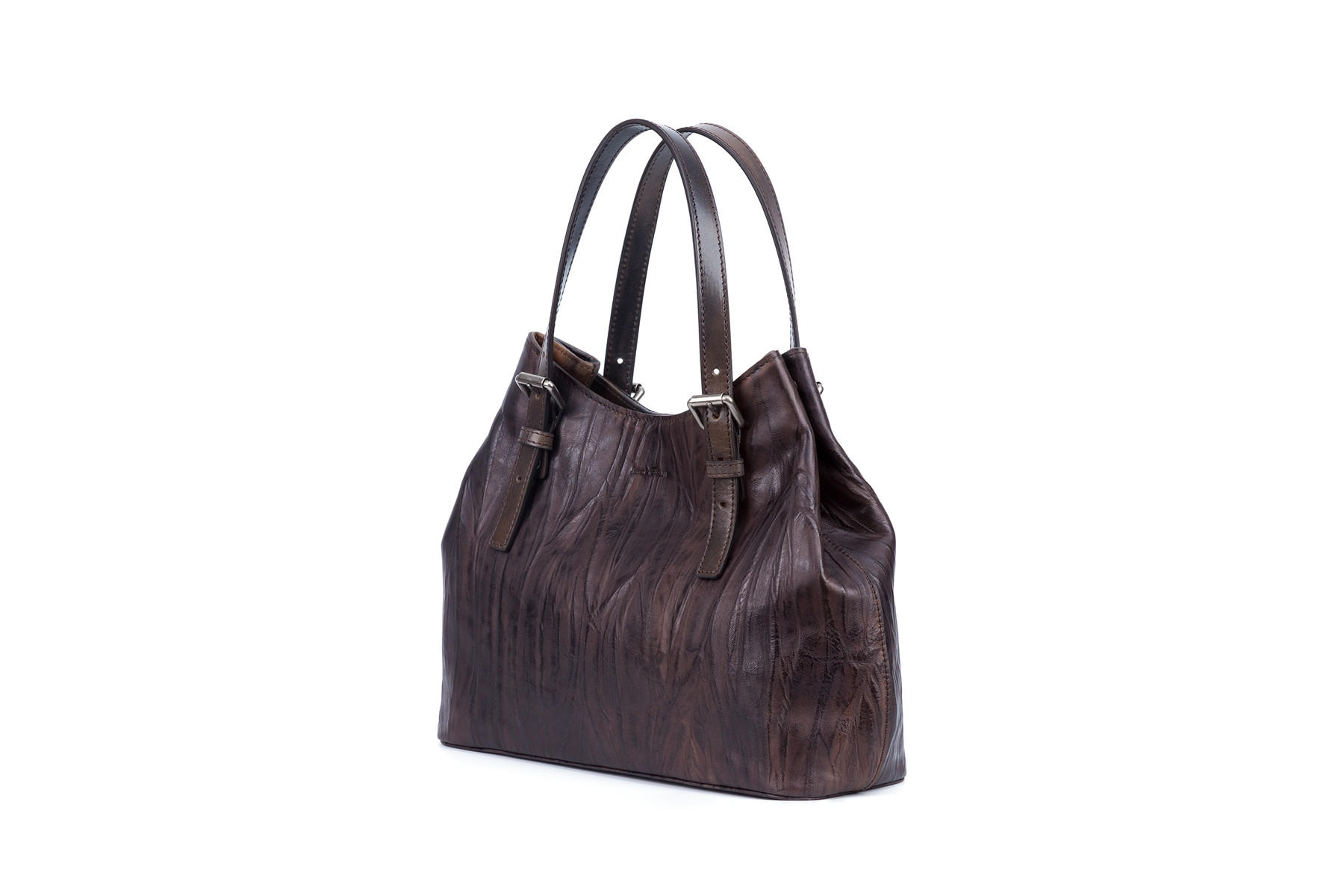 Handbag vegetable tanned leather magnet closure