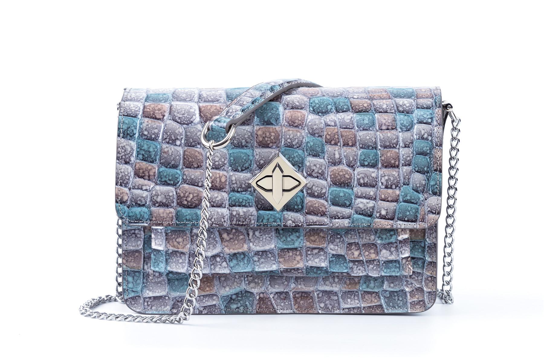 Cross Body Bag crystal pattern genuine leather metal strap