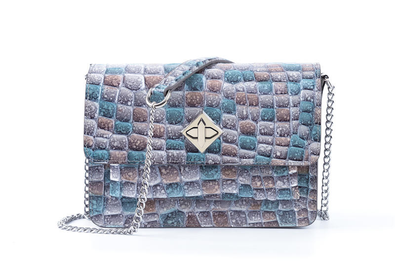 Cross Body Bag crystal pattern genuine leather metal strap