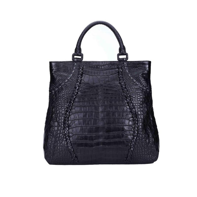 Handbag Crocodile leather Weaving decoration zipper closure
