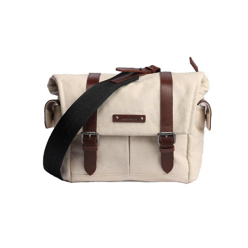 Canvas beige genderless style single shoulder messenger camera bag