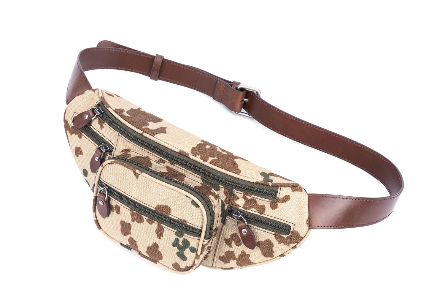 GF bags-Body Bag Genuine Leather Wax Leather Strap Camouflage Nylon Pocket-gaofeng Bags